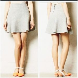 Anthropologie Maeve Flare Textured Grey Skirt